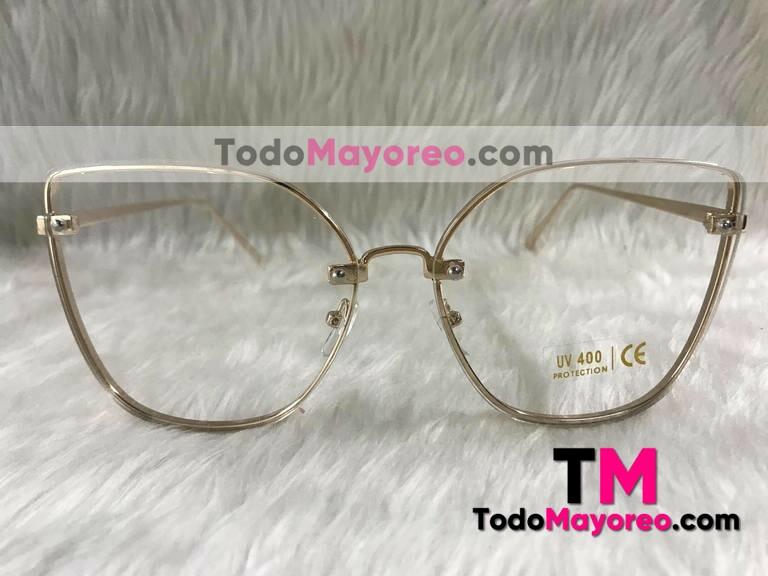 a159415df6 Lentes estilo Gucci dorado transparente cat eye armazon de metal ...