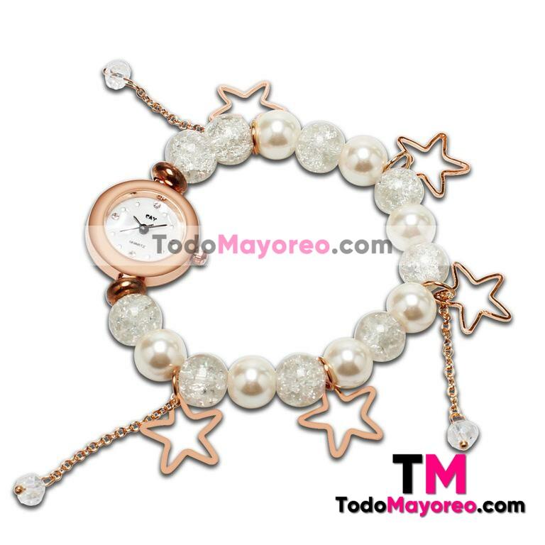 7ab9e3c03417 Reloj pulsera blanco con perlas y dijes de estrellas a la moda R2628 -  TodoMayoreo.com