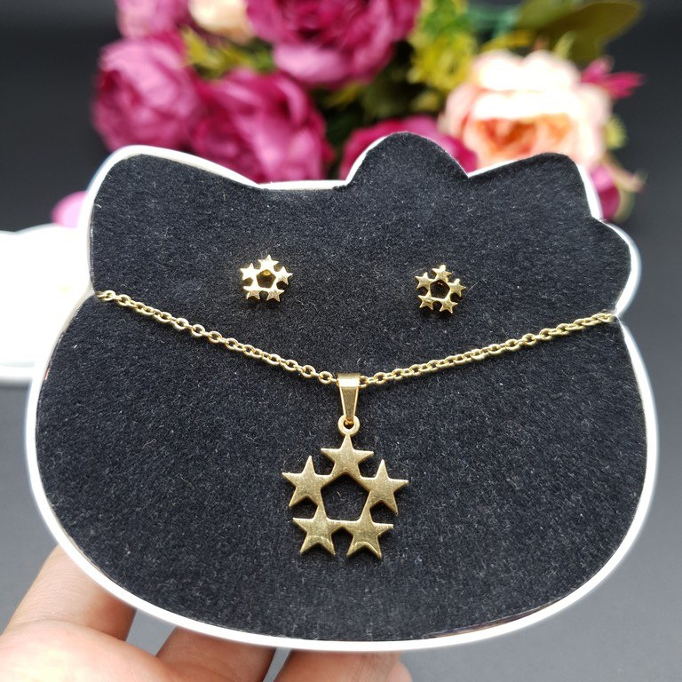 09472cee4a91 Set Collar y Aretes 5 Estrellas Dorado Acero Inoxidable A756 ...